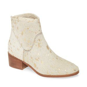 NWT Matisse Gold Spot Cowhair Slow Down Booties